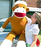 Giant 6 Feet-tall Super-sized Sock Monkey! Large Huge Jumbo Enormous Stuffed Sockmonkey Fun! Color: Beige - American Made in the USA America