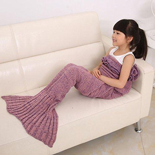 Lalang Kinder Style Meerjungfrau Sofa Stricken Decken Meerjungfrau Schwanz Strickmuster Decke (Rosa) thumbnail