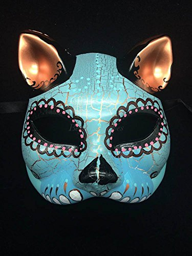 Day of the Dead Halloween Masquerade Mask Dia De Los Muertos Mask -Sky Blue Teal