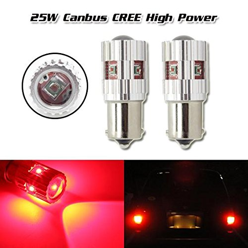 Partsam 2pcs Red Canbus CREE XP-E 25W 210Lumem LED CREE XP-E High Power 1156 5008 Projector Lens Tail Light Bulb Lamp (2008 Bmw X5 Taillight compare prices)