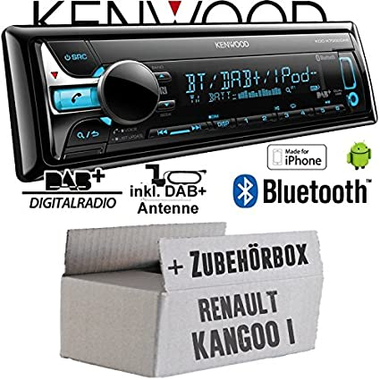 Renault Kangoo 1 - Kenwood KDC-X7000DAB - Bluetooth | CD | MP3 | USB | DAB+ Digitalradio Autoradio inkl. DAB Antenne - Einbauset