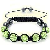 Peridot Green Swarovski Crystal & hematite stones beads macrame Shamballa style Bracelet Picture