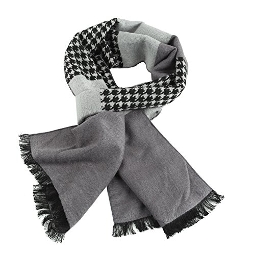 HH-HOFNEN-Mens-Soft-Plaid-Scarf-Cashmere-Feel-Autumn-Winter-Scarves-Gray-Houndstooth