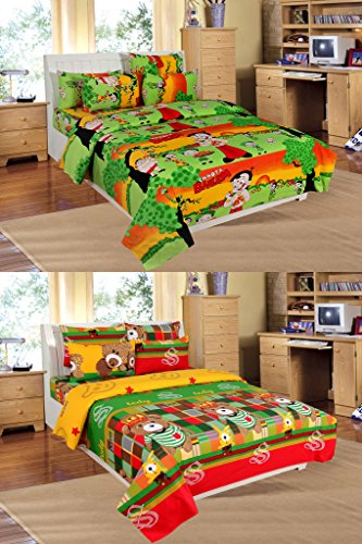 La Elite 100% Cotton Kids Cartoon Set Of 2 Double Bedsheet ( Each Set 1 Bedsheet + 2 Pillow Covers )