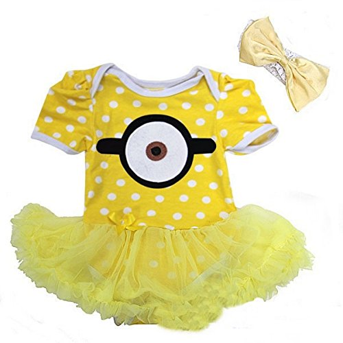 Baby Yellow White Polka Dots Halloween Bodysuit Tutu Romper and Headband