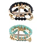 Gold with Turquoise & Black 4 Piece Bundle of Iced Out Cross, Link, & Bar Chain Beaded Stretch Bracelet Jewelry Set