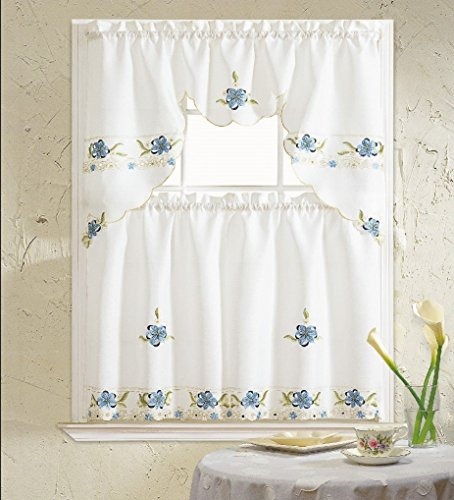 b h home aster floral embroidered 3 kitchen curtain