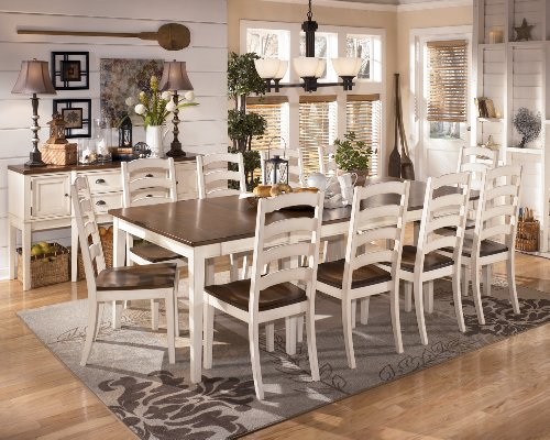 Simple Whitesburg Piece Rectangular Extension Dining Table Set in Brown White