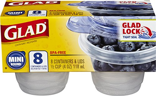 Glad Food Storage Containers, Mini Round, 4 Ounce, 8 Count (Pack of 12) (4 Oz Freezer Containers compare prices)