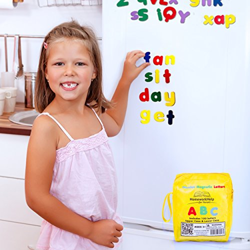 Classic Collection Of 100 Wooden, Magnetic Letters - 1 Upper & 2 Lower Case Alphabets Plus Extra Letters - Great For Preschool Reading, Writing & Spelling - Play ABC Phonics Games With This Durable, Brightly- Colored Early Learning, Educational Toy!