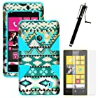 MINITURTLE, Dual Layer Tough Skin Dynamic Hybrid Hard Phone Case Cover, Clear Screen Protector Film, and Stylus Pen for Windows Smart Phone 8 Nokia Lumia 521 /T Mobile /MetroPCS (Mint Green Aztec / Blue)