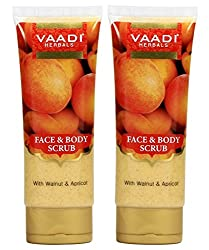Vaadi Herbals Face and Body Scrub with Walnut and Apricot, 110gms x 2