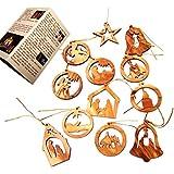 Olive Wood Ornaments - Mix (Set of 12 Flat Ornaments).
