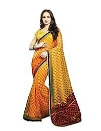 IndiWeaves Women Super Net Printed Yellow Saree - B00VPXCKZY