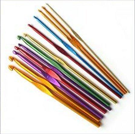 Ostart 12 Sizes Multi-color Aluminum Crochet Hooks Knitting Kits Needles (2mm -8mm)