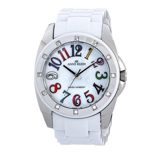 AK Anne Klein Women's 109663MPWT Swarovski Crystal Silver-Tone Easy To Read Dial White Plastic Bracelet Watch