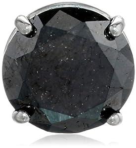 14k White Gold Black Diamond Single Stud Earrings (1.0 cttw)