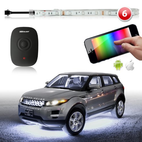 6Pc 180 Flexible Car Ios Android Iphone App Wifi Control Led Underglow Undercar Glow Lighting Kit 3 Million Color Music Sync Function 200 Presets Compatible W/ Iphone Ipad Ipod Android Phones - Xk Carbon Series