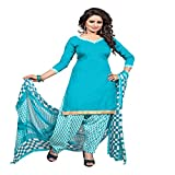 ZHot Fashion Women's Printed Unstitched Salwar Suit Material In Cotton Fabric (ZHSN1001) Blue