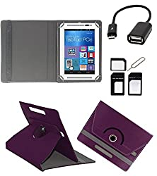 ECellStreet 360° Degree Rotating 7 Inch Flip Cover Diary Folio Case With Stand For Lenovo Idea Tab A1000 Tablet (Purple) With Free OTG Cable And Aux Cable