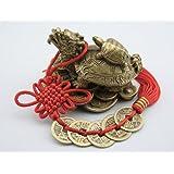 風水 龍亀 ロングイ の置物 銅製 ( 五帝銭 おまけ付き ) 商売繁盛 金運アップに!