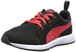 PUMA Carson Runner JR Sneaker (Little Kid/Big Kid) , Black/High Risk Red, 11 M US Little Kid