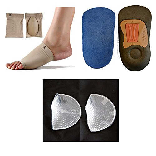 #1 LifeLux Orthotics Insoles Arch Supports Value Kit. 1 Pair 3/4 Length Orthotic Insoles With Arch Supports, Heel Cushion for Plantar Fasciitis Treatment; Gel Arch Supports Shoe Inserts; Gel Sleeve Arch Support for Metatarsal Pain Relief, Satisfaction GUARANTEED.