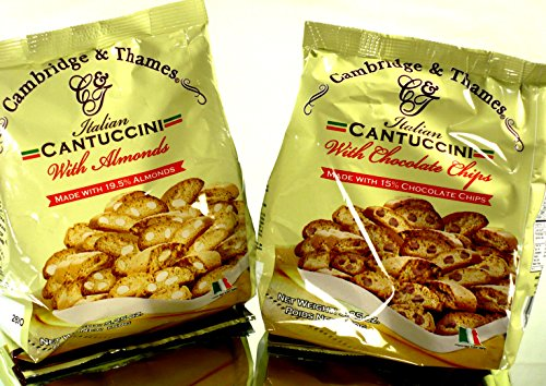 Cambridge & Thames Cantuccini Biscotti Combo 1 x Almonds (5.25 Oz / 150 Gr.) 1 x Chocolate Chips (5.25 Oz / 150 Gr.) Imported from Italy