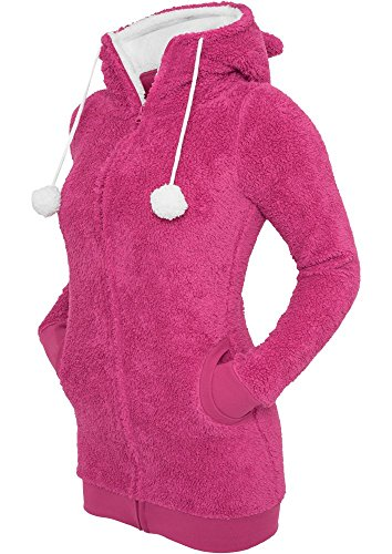 Urban Classics Teddy Long Felpa jogging donna rosa/bianco S