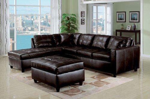 Peachy Fenchbarney Farhaz Espresso Bonded Leather Match Sectional Beatyapartments Chair Design Images Beatyapartmentscom
