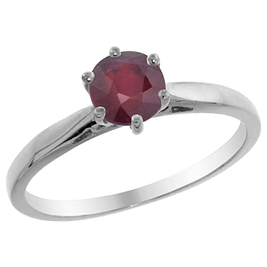 Revoni 14ct White Gold Natural Enhanced Ruby Solitaire Ring Round 5mm