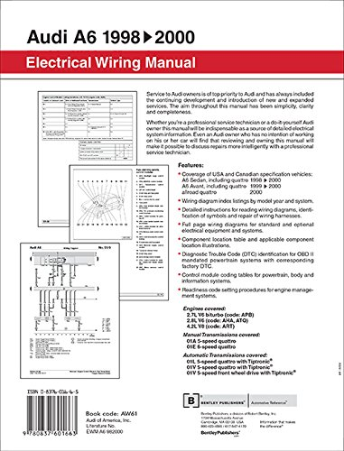 Audi A6 Electrical Wiring Manual A6 Sedan 1998  1999  2000
