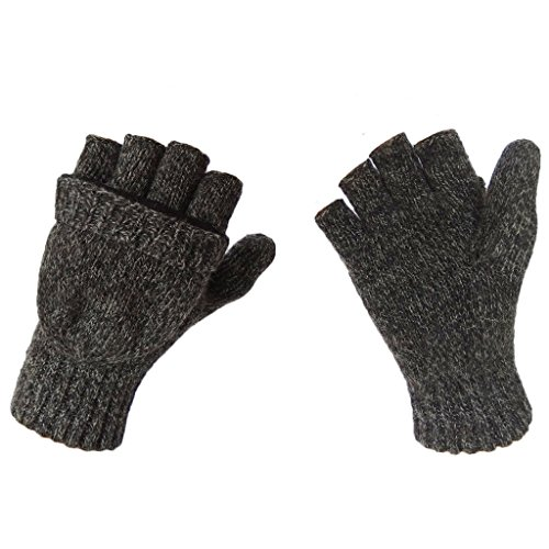 LETHMIK Wool Knitted Gloves Unisex Fingerless Texting Mittens with Mitten Cover Black (Kids Convertible Gloves compare prices)