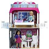 18 Inch Doll Two-Story Playhouse with Balcony Perfect for 18 Inch American Girl Dolls and More! 2-Story Doll Playhouse w/Kitchen, Bedroom, and Balcony