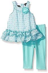 Calvin Klein Baby-Girls Printed Chiffon Tunic and Blue Spandex Leggings, Blue, 24 Months