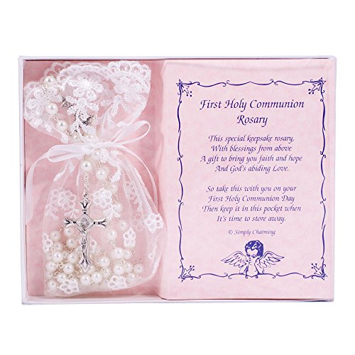 First Holy Communion White Rosary with Lace Keepsake Bag