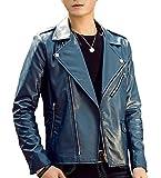 Vergnügen (フェアグニューゲン) メンズ レザー ライダースジャケット ダブル 全4色 S 5XL 流行 バイク ライダース ジャケット コート ハーフコート かっこいい 大人 合わせやすい 黒 ブラック 紺 ネイビー 赤 レッド オレンジ 白 ホワイト (M, ネイビー)