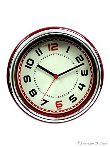 Retro 50s 50's CONTEMPORARY BRIGHT Red Designer Kitchen Wall Clock DINER Decor