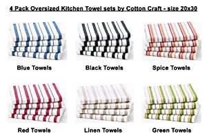 Cotton Craft - 4 Pack Oversized Kitchen Towels, 20x30, Pure 100% Cotton, Crisp Basket weave striped pattern, Convenient hanging loop - Highly absorbent, Professional Grade, Soft yet Sturdy