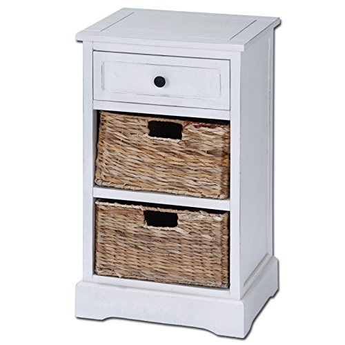 Urban Designs Malibu 3-Drawer Night Stand with Wicker Baskets, White (White Basket Stand compare prices)