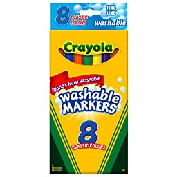 Crayola Ultra-Clean Washable Markers, Color Max, Fine Line Classic Colors 8 Ea (Pack of 6)