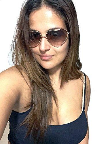 Dollger Heart Sunglasses Thin Metal Frame Lovely Aviator Style For Women Gold