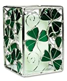 Irish Candle Holder Celtic with Shamrocks Stained Glass and Metal