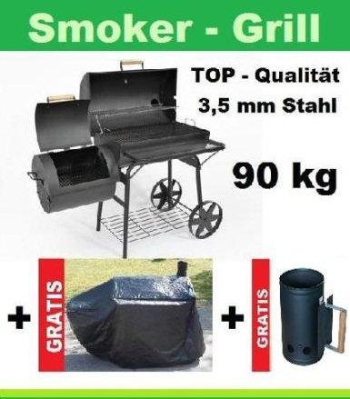 Massiver Smoker BBQ Grillwagen Holzkohle Grill 90KG NEU bestellen
