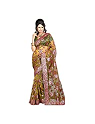 Aksh Fashion Women's Multicolor Velvet & Net Mirror Work Saree - B00V7R2P8K