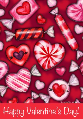Happy Valentines Day Heart Candy Double Sided Garden Flag ...