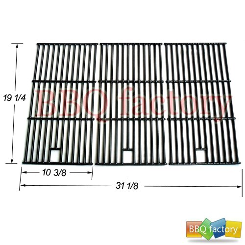 bbq factory Replacement Cast Iron Cooking Grid Porcelain coated Set of 3 for Select Gas Grill Models By Brinkmann, Charmglow, Costco Kirkland, For Jenn Air, Members Mark, Nexgrill, Perfect Flame, Sams Club and Others