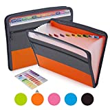 Sooez Expanding File Folder with Sticky Labels, 13 Pocket Accordion File Folder Document Organizer Expanding Zip File Folder with Zipper Closure, Letter A4 Paper Document Accordion Folder, Orange (Color: Orange)
