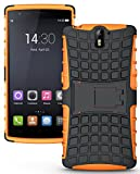 Heartly Flip Kick Stand Spider Hard Dual Rugged Armor Hybrid Bumper Back Case Cover For OnePlus One 4G - Mobile Orange