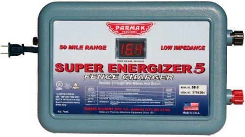 Parmak Super Energizer 5 Low Impedance 110/120 Volt 50 Mile Range Electric Fence Controller Se5 Outdoor/Garden/Yard Maintenance (Patio & Lawn Upkeep)